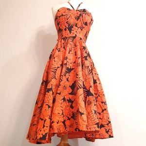 Vintage 80s does 50s Coral and Black Tiki Dress